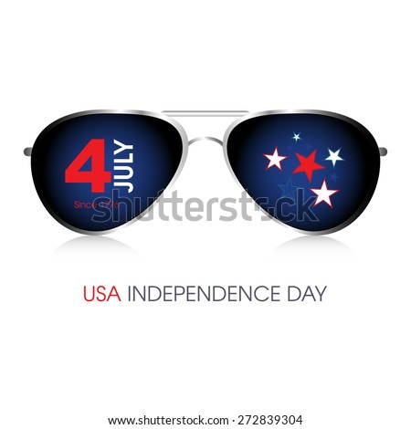 A pair of aviator sunglasses with 4th July American Independence Day design. - stock vector