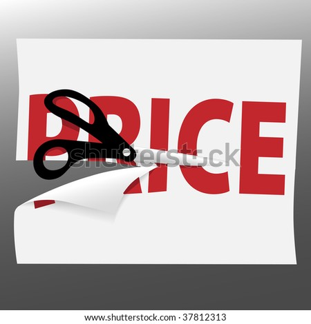 A pair of black utility scissors cut a red PRICE for a sale on a page curl. - stock vector