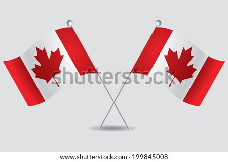 a pair of canadian flags in grey background - stock vector