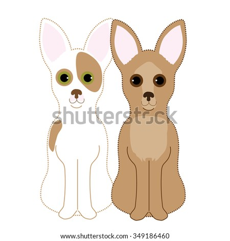 A pair of Chihuahuas sitting next to each other. One is a fawn and the other a fawn and white - stock vector