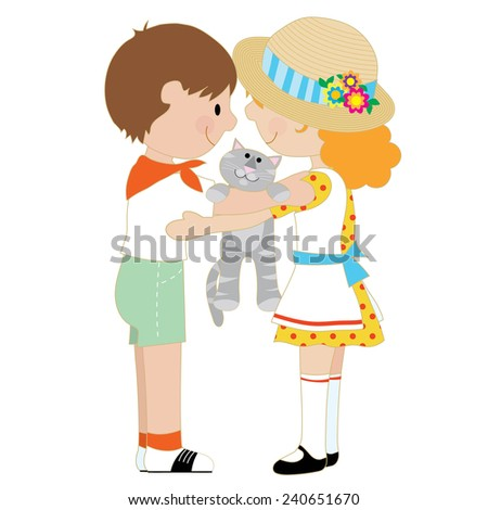 A pair of children, one boy and one girl, are hugging and holding a grey cat - stock vector