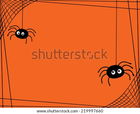 A Pair of Cute Spiders Spinning a Web Border Room for Text