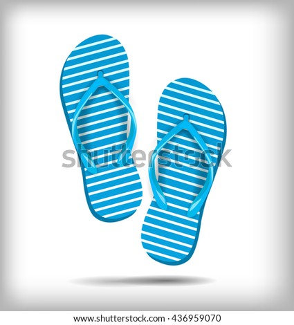 A pair of flip-flops isolated on a white background. Vector illustration. Blue white stripe, shoes for summer - stock vector