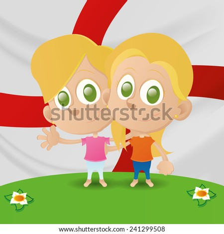 a pair of kids and the flag of england on the background
