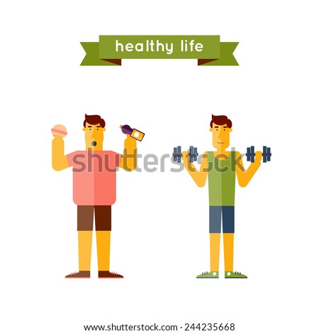 A pair of men's thick and thin. Fast food. Sports Health. Healthy life. - stock vector