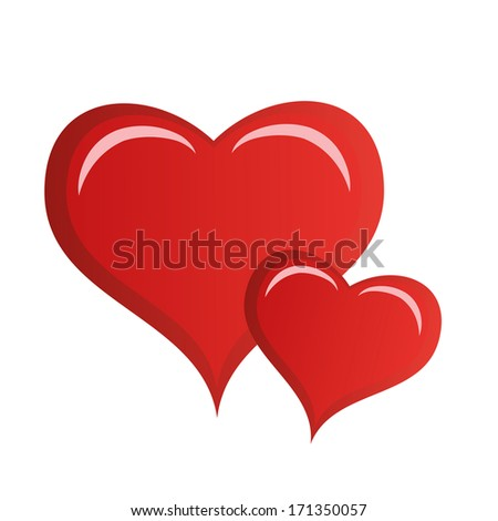a pair of red hearts in white background