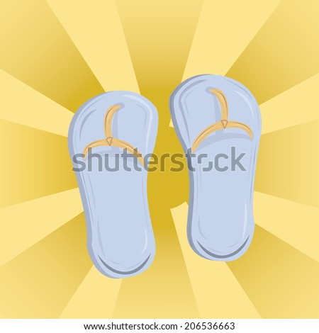 a pair of sandals in a yellow background