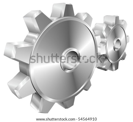 A pair of shiny silver steel metallic cog or gear wheels vector illustration with dynamic perspective. Can be used as an icon or illustration in its own right. - stock vector