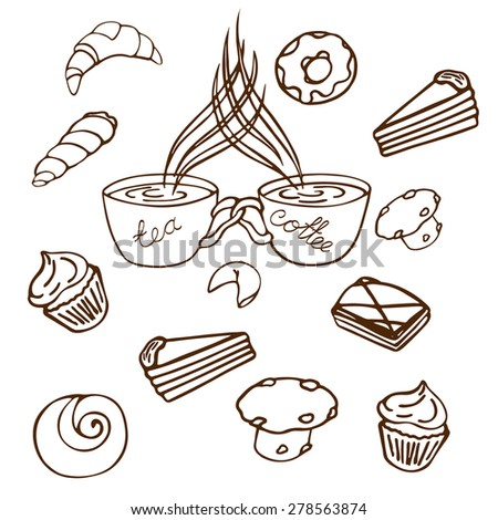 a pair of two cups, a cup of coffee and a cup of tea together and connected background of different types of pastries and desserts