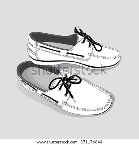 A pair of white men moccasins isolated on white background - stock vector