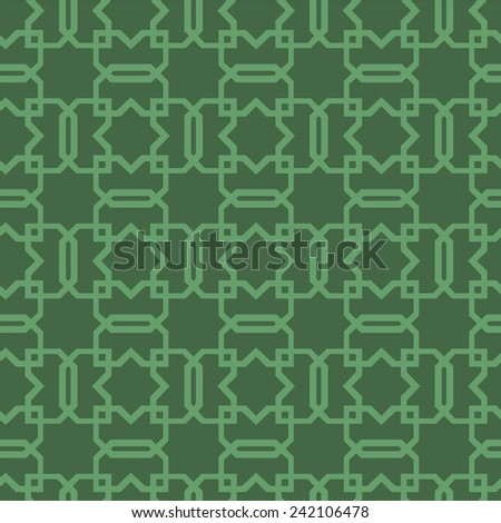 A pale green Celtic inspired knotwork against a dark green background. This scalable vector wallpaper background tiles seamlessly. - stock vector
