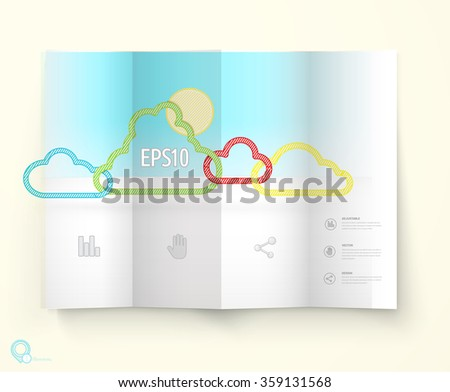 A4 Pamphlet Page Movk Up With Origami Clouds For Your Weather Forecast Template - stock vector