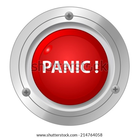A panic red button. - stock vector