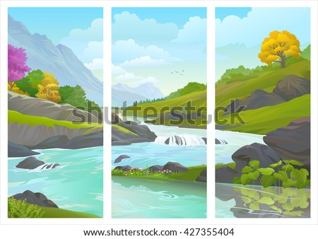 A panoramic assembly of a images of a beautiful flowing river  - stock vector