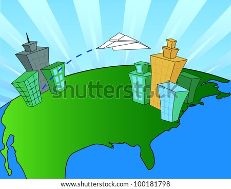 A Paper Airplane Flying from a West Coast City to a East Coast City - stock vector