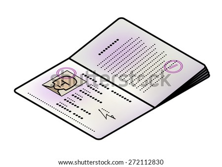 A passport opened to the front / photo page. Female face. - stock vector