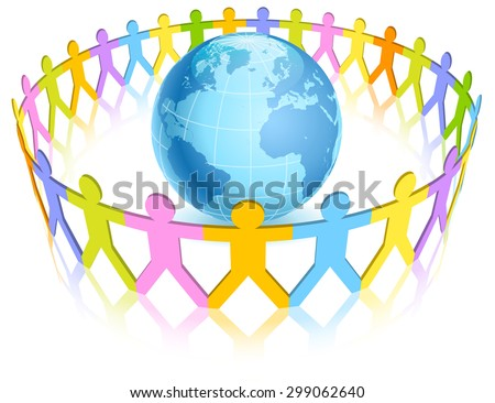 A pastel colorful circle of paper-silhouettes-like people holding hands around a blue world globe. - stock vector