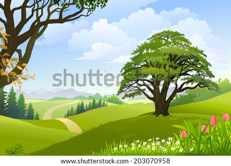 A pathway going through lush green outfield with trees and hills - stock vector