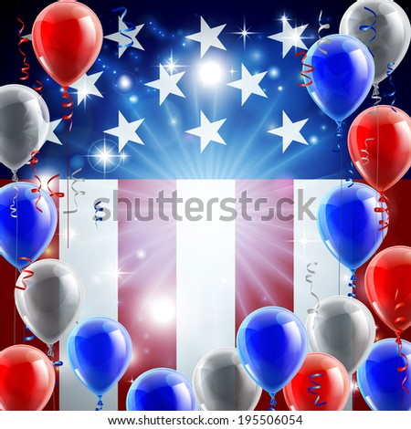 A patriotic American USA 4th July independence day or veterans day background with red white and blue party balloons - stock vector