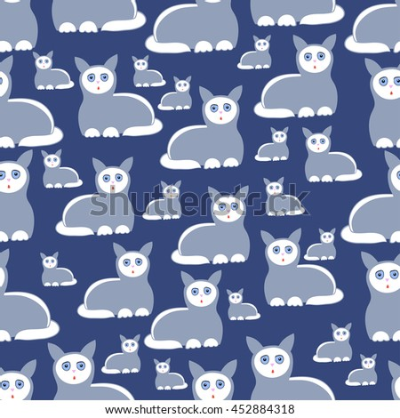 A pattern with cats on the blue  background.