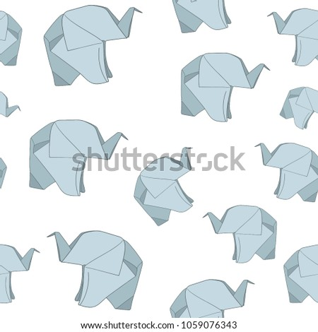 A Pattern With Origami Elephants Line Drawing Vector Image Design Simple Minimalistic