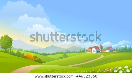 A peaceful settlement in the midst of lush green meadows