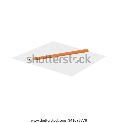 A pencil on a sheet of paper on a white background