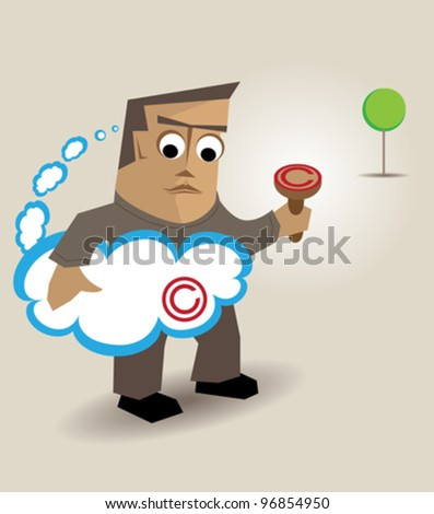 A person affixing the seal of copyright in their ideas - stock vector