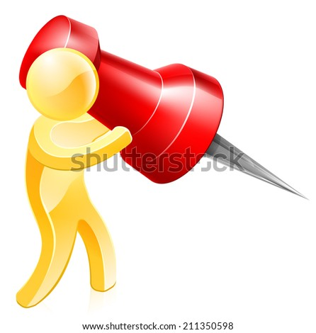 A person holding a huge thumb tack or map pin about to pin something - stock vector