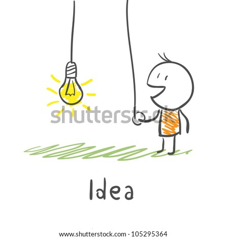 A person includes a light bulb. The concept of the idea. Illustration. - stock vector