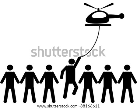 A person is picked by helicopter