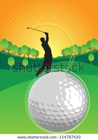 A person is playing golf in the sunset - stock vector