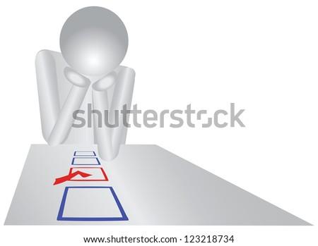 A person makes a choice. Vector illustration. - stock vector