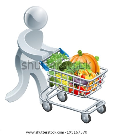 A person pushing a shopping cart or trolley full of vegetables - stock vector