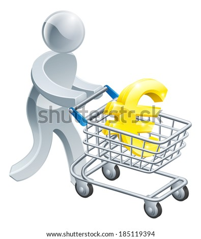 A person pushing a shopping cart or trolley with a large euro sign in it - stock vector