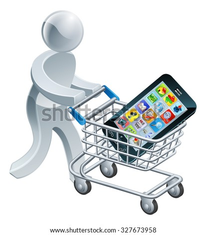 A person pushing a shopping cart or trolley with a large mobile cell phone in it - stock vector