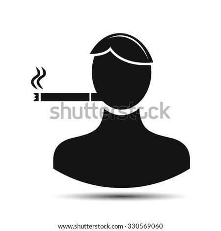 a person smokes. smoker icon - stock vector