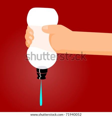 A person squeezes the last bit of liquid from a bottle. - stock vector