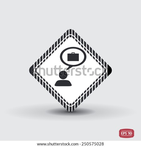 A person with a cloud. Case icon. Human thought bubble above his head. Flat design style. Made in vector illustration - stock vector