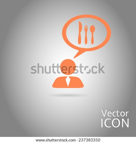 A person with a cloud. Knife and fork icon. Human thought bubble above his head. Made in vector illustration - stock vector