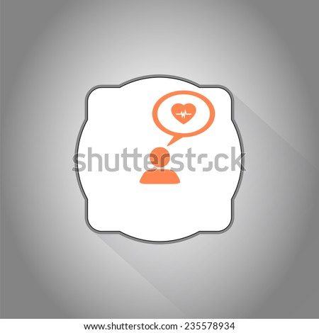 A person with a cloud. Medical sign. Human thought bubble above his head. Flat design style. Made in vector illustration - stock vector