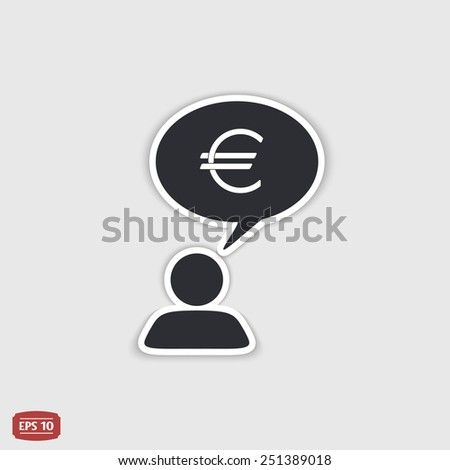 A person with a cloud. Money icon. Human thought bubble above his head. Flat design style. Made in vector illustration