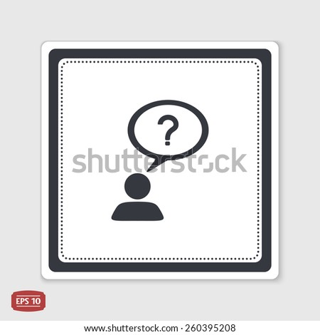 A person with a cloud. Question mark. Human thought bubble above his head. Flat design style. Made in vector illustration. Emblem or label with shadow. - stock vector