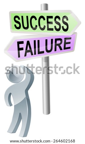 A person with a decision to make looking up at a sign with directions to success or failure - stock vector