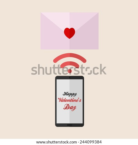 A Phone Send Letter Love on Valentine's Day - stock vector