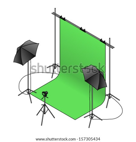 A photo studio set up with a green screen backdrop, umbrella flash lights on tripods, and a camera. - stock vector