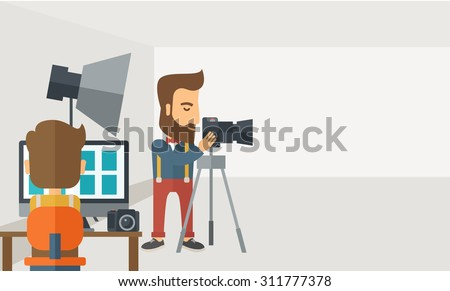 A Photography studio with a light set up and white backdrop and his companion with laptop for developing the picture. A Contemporary style with pastel palette, soft grey tinted background. Vector flat - stock vector