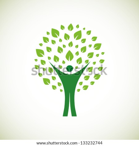 A pictographic image of a green man - stock vector