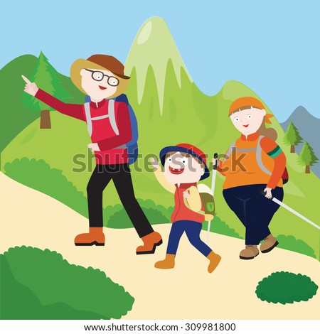 Picture Family Hiking Mountain Stock Vector 309981800