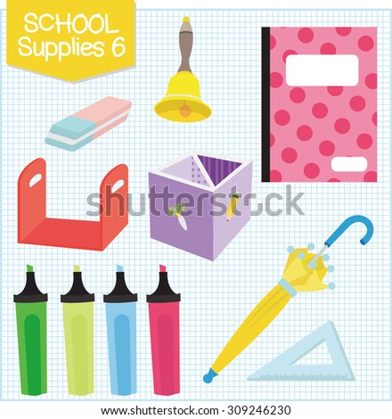 A picture of school supplies isolated in white.